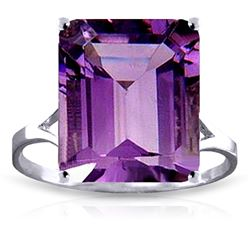 Genuine 6.5 ctw Amethyst Ring Jewelry 14KT White Gold - REF-43A8K