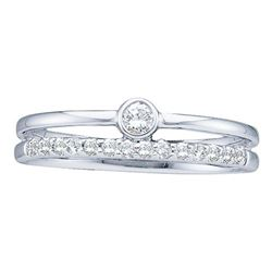 0.20 CTW Diamond Solitaire Bridal Engagement Ring 14KT White Gold - REF-34K4W