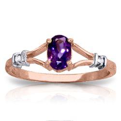 Genuine 0.46 ctw Amethyst & Diamond Ring Jewelry 14KT Rose Gold - REF-27V2W