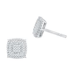 0.50 CTW Diamond Square Cluster Screwback Earrings 10KT White Gold - REF-31H4M