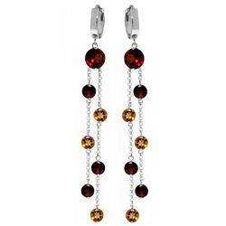 Genuine 8.99 ctw Garnet & Citrine Earrings Jewelry 14KT White Gold - REF-101W2Y