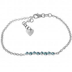 Genuine 1.55 ctw Blue Topaz Bracelet Jewelry 14KT White Gold - REF-55P3H