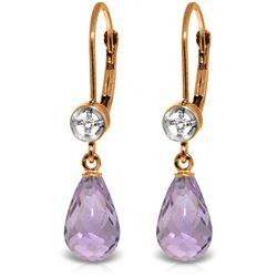 Genuine 4.53 ctw Amethyst & Diamond Earrings Jewelry 14KT Rose Gold - REF-29Z3N