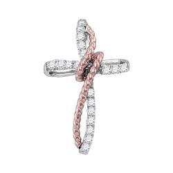 0.20 CTW Diamond Rope Cross Pendant 10KT Two-tone Gold - REF-18Y7X
