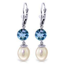 Genuine 11.10 ctw Blue Topaz Earrings Jewelry 14KT White Gold - REF-26P6H