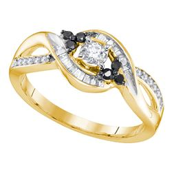 0.31 CTW Diamond Solitaire Black-Bridal Engagement Ring 10KT Yellow Gold - REF-22N4F