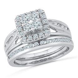 1.01 CTW Diamond Cluster Bridal Engagement Ring 14KT White Gold - REF-104F9N