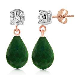 Genuine 17.66 ctw Green Sapphire Corundum & Diamond Earrings Jewelry 14KT Rose Gold - REF-37R4P