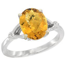 Natural 2.41 ctw Whisky-quartz & Diamond Engagement Ring 14K White Gold - REF-33F3N