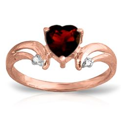 Genuine 1.26 ctw Garnet & Diamond Ring Jewelry 14KT Rose Gold - REF-42V2W