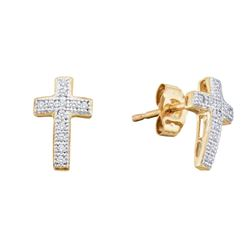 0.10 CTW Diamond Cross Stud Earrings 10KT Yellow Gold - REF-10Y5X