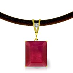 Genuine 7.51 ctw Ruby & Diamond Necklace Jewelry 14KT Yellow Gold - REF-77X7M