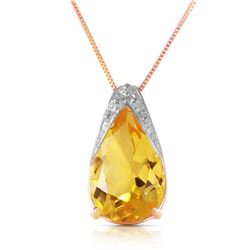 Genuine 5 ctw Citrine Necklace Jewelry 14KT Rose Gold - REF-27R2P