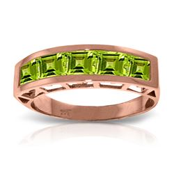 Genuine 2.25 ctw Peridot Ring Jewelry 14KT Rose Gold - REF-54Y2F