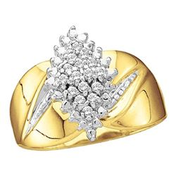 0.12 CTW Prong-set Diamond Oval Cluster Ring 10KT Yellow Gold - REF-18W7K