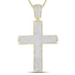 2.48 CTW Mens Diamond Roman Cross Charm Pendant 10KT Yellow Gold - REF-247N4F
