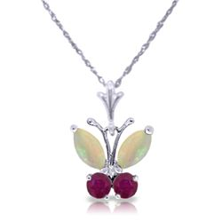 Genuine 0.70 ctw Opal & Ruby Necklace Jewelry 14KT White Gold - REF-25X3M