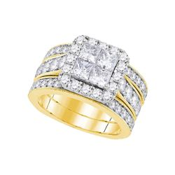 3 CTW Princess Diamond Bridal Engagement Ring 14k Yellow Gold - REF-389X9Y