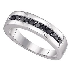 0.50 CTW Mens Black Color Diamond Wedding Ring 10KT White Gold - REF-22M4H