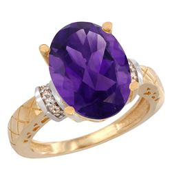 Natural 5.53 ctw Amethyst & Diamond Engagement Ring 14K Yellow Gold - REF-60M3H