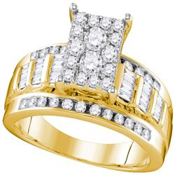0.92 CTW Diamond Rectangle Cluster Bridal Engagement Ring 10KT Yellow Gold - REF-70K4W