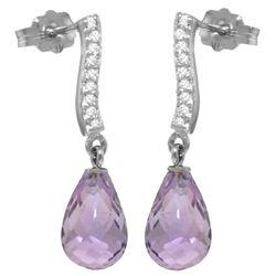 Genuine 4.78 ctw Amethyst & Diamond Earrings Jewelry 14KT White Gold - REF-46A2K