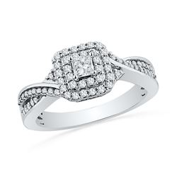 0.50 CTW Princess Diamond Solitaire Bridal Engagement Ring 10KT White Gold - REF-59N9F