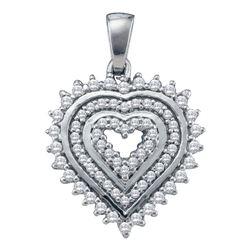 0.35 CTW Diamond Heart Pendant 10KT White Gold - REF-26W9K