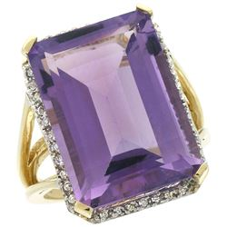Natural 15.06 ctw amethyst & Diamond Engagement Ring 10K Yellow Gold - REF-64R3Z