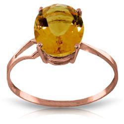 Genuine 2.2 ctw Citrine Ring Jewelry 14KT Rose Gold - REF-27Y8F