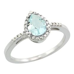 Natural 1.53 ctw aquamarine & Diamond Engagement Ring 10K White Gold - REF-24H4W
