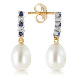 Genuine 8.3 ctw Sapphire, Pearl & Diamond Earrings Jewelry 14KT Yellow Gold - REF-28Z8N