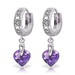 Genuine 1.77 ctw Amethyst & Diamond Earrings Jewelry 14KT White Gold - REF-35F2Z