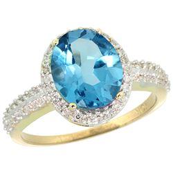 Natural 2.56 ctw Swiss-blue-topaz & Diamond Engagement Ring 10K Yellow Gold - REF-32R7Z