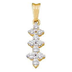 0.23 CTW Diamond Small Triple Cluster Dangle Pendant 14KT Yellow Gold - REF-18M2H