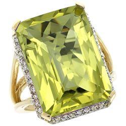Natural 15.06 ctw Lemon-quartz & Diamond Engagement Ring 14K Yellow Gold - REF-75W3K