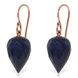 Genuine 25.8 ctw Sapphire Earrings Jewelry 14KT Rose Gold - REF-25R6P