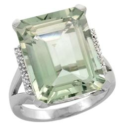 Natural 12.13 ctw Green-amethyst & Diamond Engagement Ring 14K White Gold - REF-71R2Z