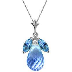 Genuine 7.2 ctw Blue Topaz Necklace Jewelry 14KT White Gold - REF-30V5W