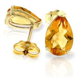 Genuine 3.15 ctw Citrine Earrings Jewelry 14KT Yellow Gold - REF-21X2M