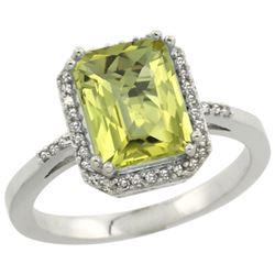Natural 2.63 ctw Lemon-quartz & Diamond Engagement Ring 14K White Gold - REF-42V2F