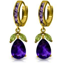 Genuine 14.3 ctw Amethyst & Peridot Earrings Jewelry 14KT Yellow Gold - REF-82P9H