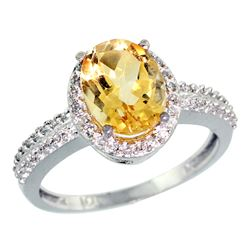 Natural 1.91 ctw Citrine & Diamond Engagement Ring 14K White Gold - REF-41Z3Y