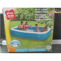 """Play Day 10 foot 3 Ring Family Pool /  117 x 69.5 x 22"""" deep"""