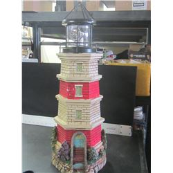 """24"""" Solar Lighthouse / Red   small chip at bottom , will be in the dirt anyway"""