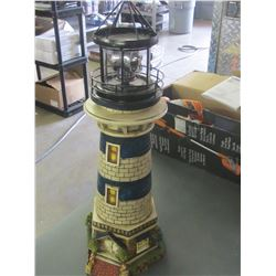 """24"""" Solar Lighthouse / Blue  small chip at bottom , will be in the dirt anyway"""