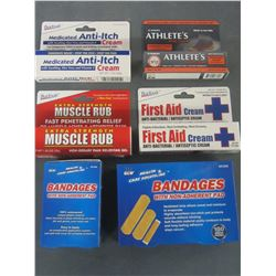 Lot of 6 New First aid / Bandaids/first aid cream/anti itch/muscle rub &