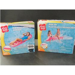 2 Play Day Floaties / lounger and ride on dolphin