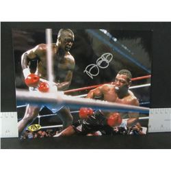 James Buster Douglas Hand Signed Photo Knocking out Mike Tyson