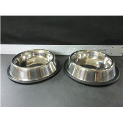 2 New Stainless Steel non skid Pet Bowls for small to Medium pets